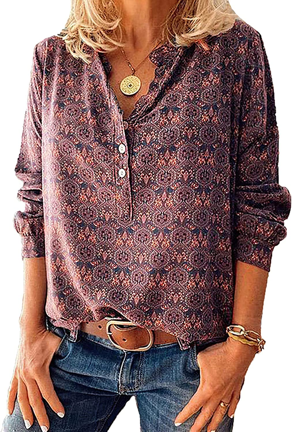 Women's Floral Printed Button Down Long Sleeve Shirts Vintage Casual Loose V Neck Shirts for Women Tops