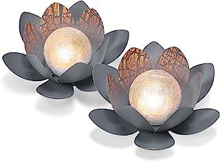 Dekoratives Solar Lotusblüten 2er Set aus Metall - angenehm warmweißes Licht - traumhafte Lichteffekte durch Bruchglasopti...