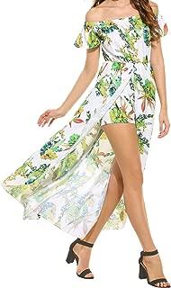 Lantusi Women Floral Off Shoulder High-Low Split Summer Beach Maxi Dress