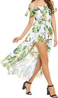 Lantusi Women Floral Off Shoulder High-Low Split Summer Beach Maxi Dress