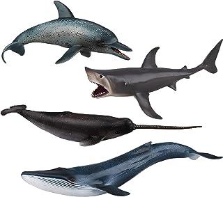 "TOYMANY 4PCS 8-10"" L Realistic Large Shark & Whale Figurines Bath Toys, Plastic Play Ocean Sea Animals Figures Set Include..."