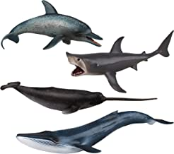 """TOYMANY 4PCS 8-10"""" L Realistic Large Shark & Whale Figurines Bath Toys, Plastic Play Ocean Sea Animals Figures Set Includes Dolphin,Great White Shark,Blue Whale, Educational Birthday Gift for Kids"""