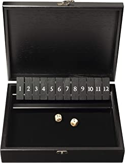 WE Games Shut The Box Game with 12 Numbers in an Old World Styled, Black Stained Wood Box with a Lid and a Brass Latch