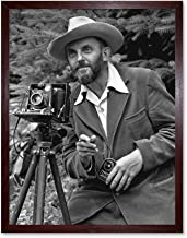 Photographer Ansel Adams with Camera Photo Art Print Framed Poster Wall Decor 12x16 inch