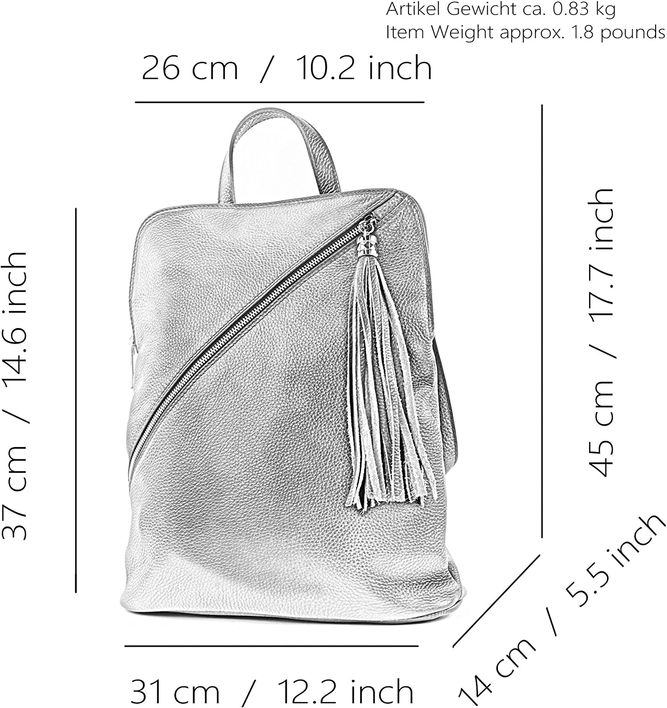 modamoda de - Italiennes Sac à dos en cuir 3in1 T141 T161 Schwarz/Camel