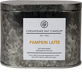 Chesapeake Bay Candle Tin with Double Wick Scented Candle, Pumpkin Latte, Oval