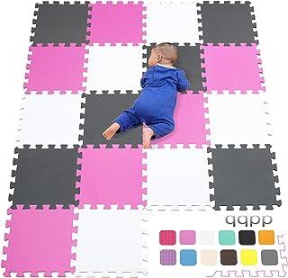 qqpp Alfombra Puzzle para Niños Bebe Infantil - Suelo de Goma EVA Suave. 18 Piezas (30*30*1cm), Blanco, Rosa, Gris.QQC-ACLb18N