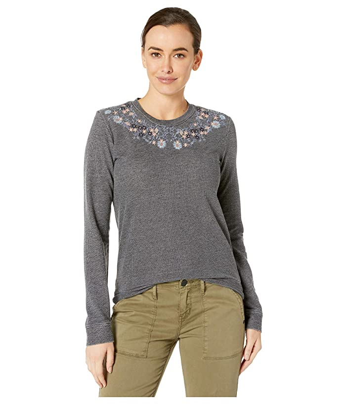Lucky Brand  Embroidered Novelty Sweatshirt (Lucky Black) Womens Clothing