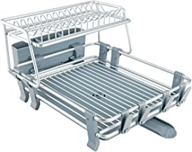 VENETIO Delux Aluminum Drying Rack 2 Tiers with Removable Dish Drainer Tray 360° Swivel Spout, with Anti-slip Cup Holder f...