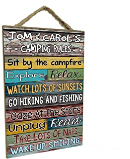 """Blackwater Trading Custom Personalized Camping Rules Sign Plaque Decor 7"""" x 10.5"""" Camper Wall Art RV Decor Campground Gift"""