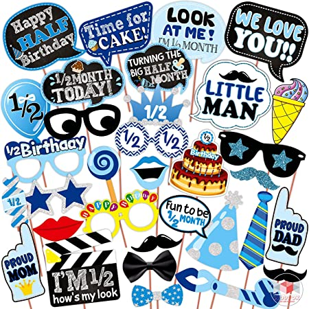WOBBOX Half Birthday Photo Booth Party Props Blue for Baby Boy , 1/2 Birthday Decorations for Boys , Kids Birthday Party Decoration Items