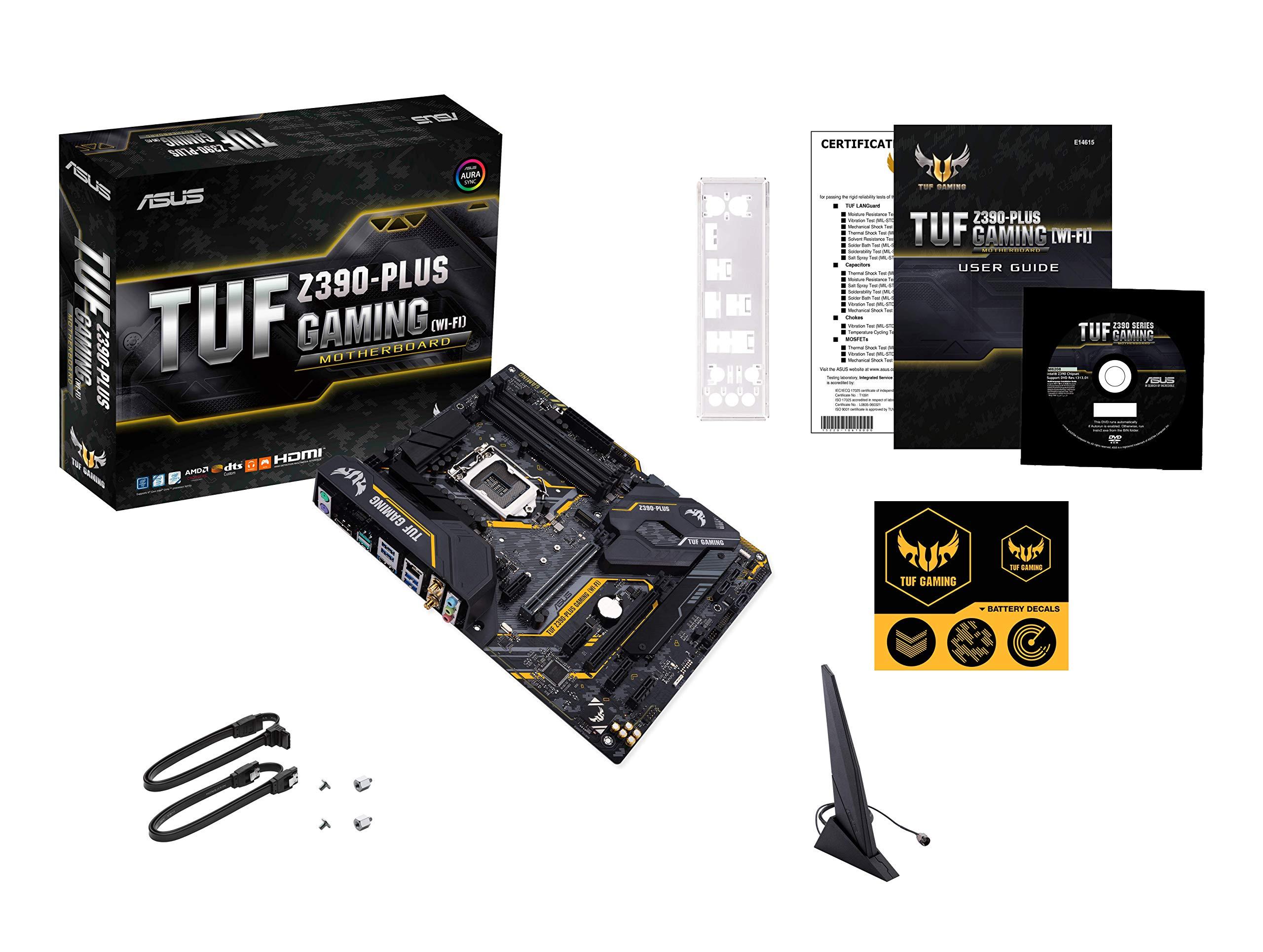 ASUS TUF Z390-PLUS GAMING (Wi-Fi) - Placa base Gaming ATX Intel de 8a y 9a gen. LGA1151 con OptiMem II, iluminación Aura RGB, DDR4 4266+ MHz, M.2 a 32 Gbps, Wi-Fi AC,