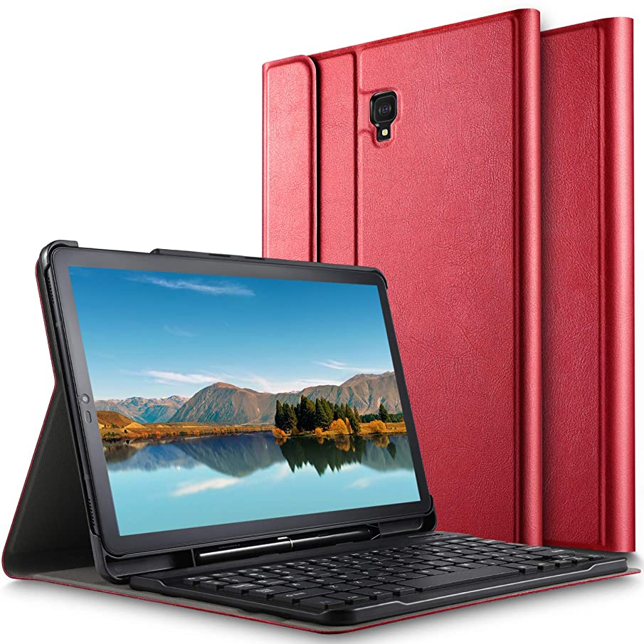 Luibor Samsung Galaxy Tab S4 10.5 Keyboard Case Front Prop Stand Case with Removable Wireless Keyboard & Pencil Slot for Galaxy Tab S4 10.5 SM-T830 (Wi-Fi) & SM-T835 (4G LTE) Tablet (Red)