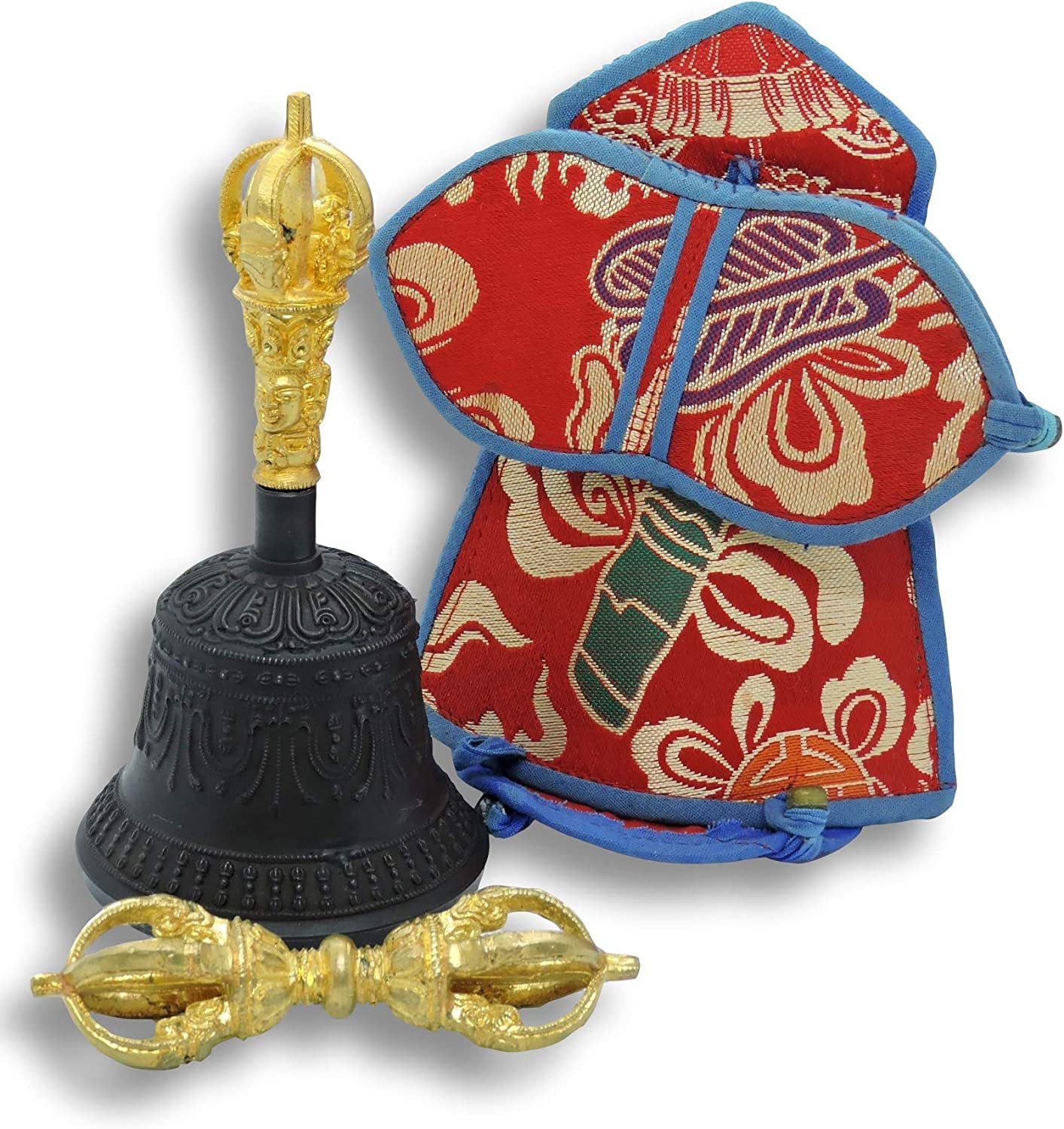 High Quality Hand Crafted Traditional Bell and Dorje Amazing Sound w Silk Cover