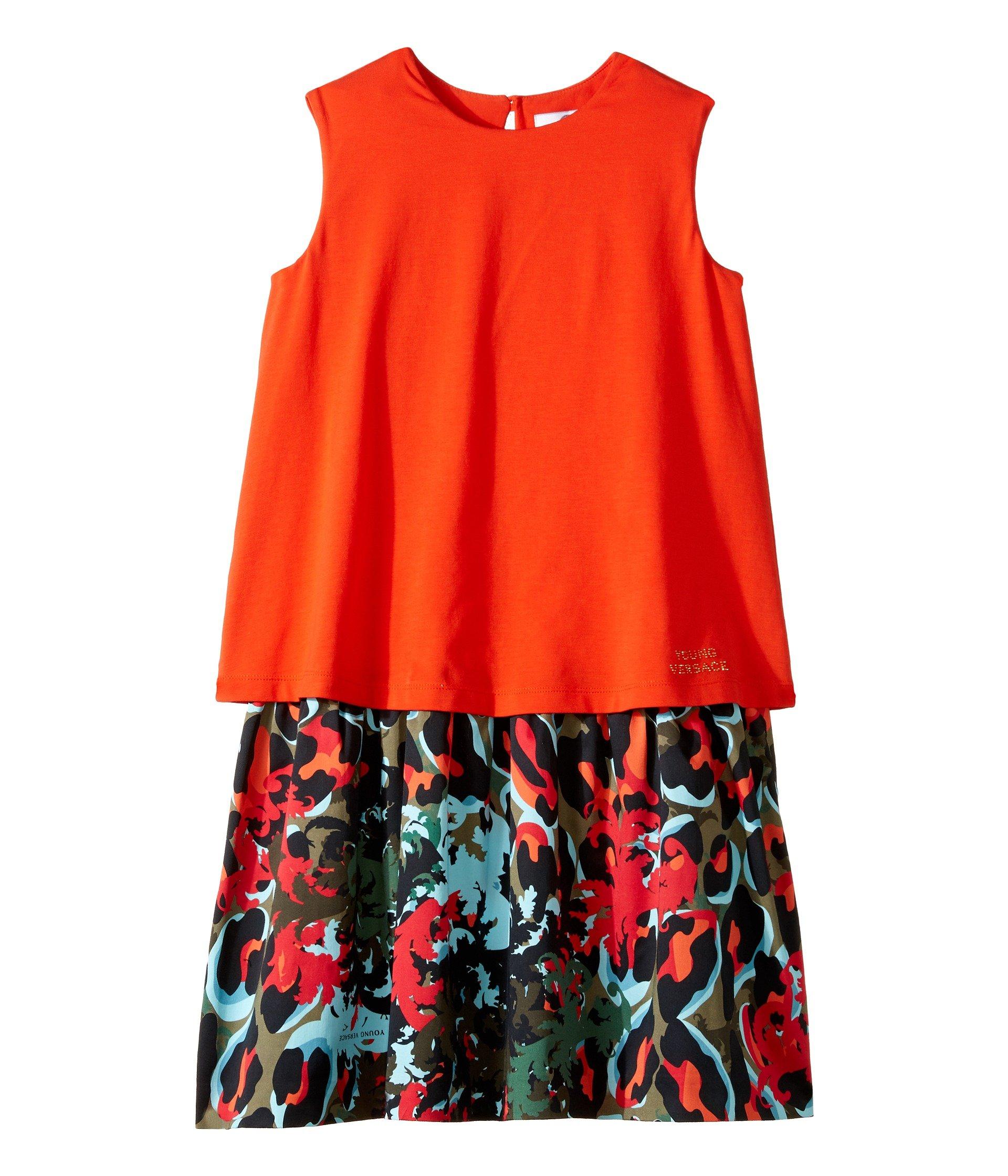 Vestido para Niña Versace Kids Layered Dress w/ Animal Print Skirt (Big Kids)  + Versace en VeoyCompro.net