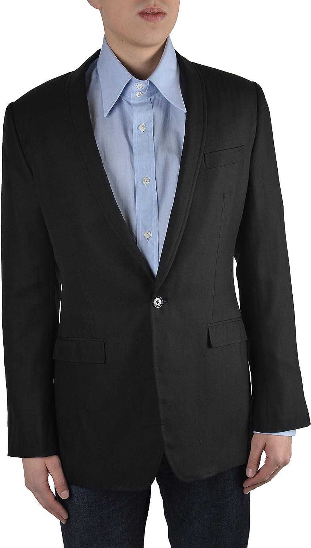 Dolce & Gabbana Men's Black 100% Silk One Button Blazer Size US 38 IT 48