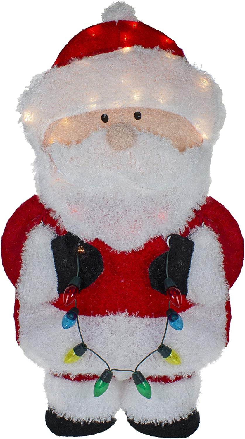 32-Inch Lighted Chenille Same day shipping Santa with Dec Lights SEAL limited product Outdoor Christmas