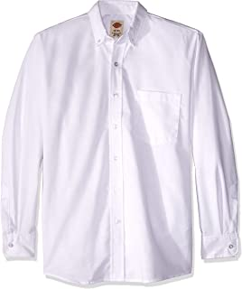 SS36WH Polyester/Cotton Men's Button-Down Long Sleeve Oxford Shirt, White
