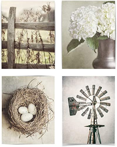 Farmhouse Shabby Chic Set of 4 Wall Art Prints (Not Framed). 5x7, 8x10, 11x14, or 16x20. Tan, Beige and Soft Gold Rus...