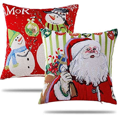 "18/"" Christmas Santa Claus Cushion Cover Pillow Case Xmas Home Sofa Throw Decor"