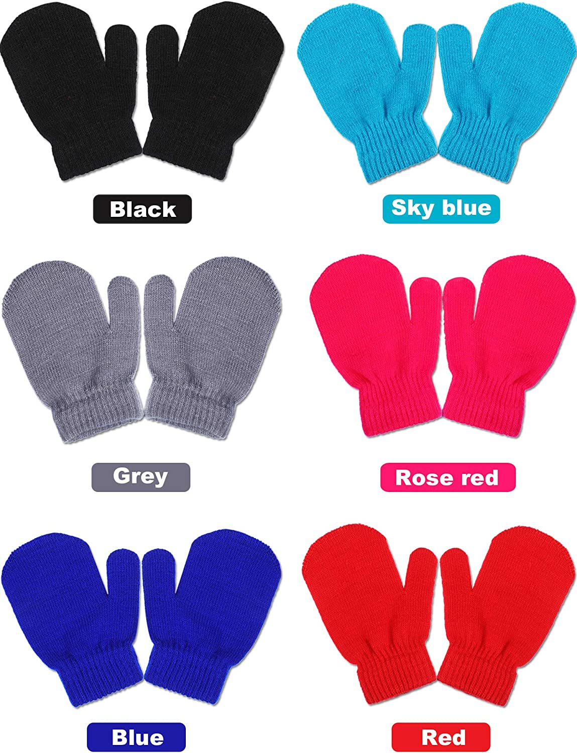 Sumind 12 Pairs Kids Knitted Mittens Winter Warm Stretch Gloves Infant Mitten Gloves for Boys Girls