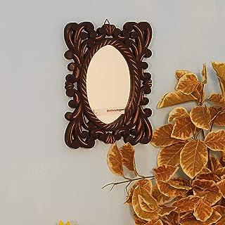 Onlineshoppee Decorative Hand Carved Wood Wall Mirror (22 cm x 2 cm x 30 cm, Black)