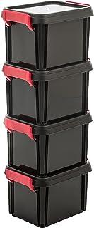 Amazon Basics 102783 Lot de 4 boîtes de Rangement empilables avec Couvercle Multi Box, Plastique, Noir, 2 Litres