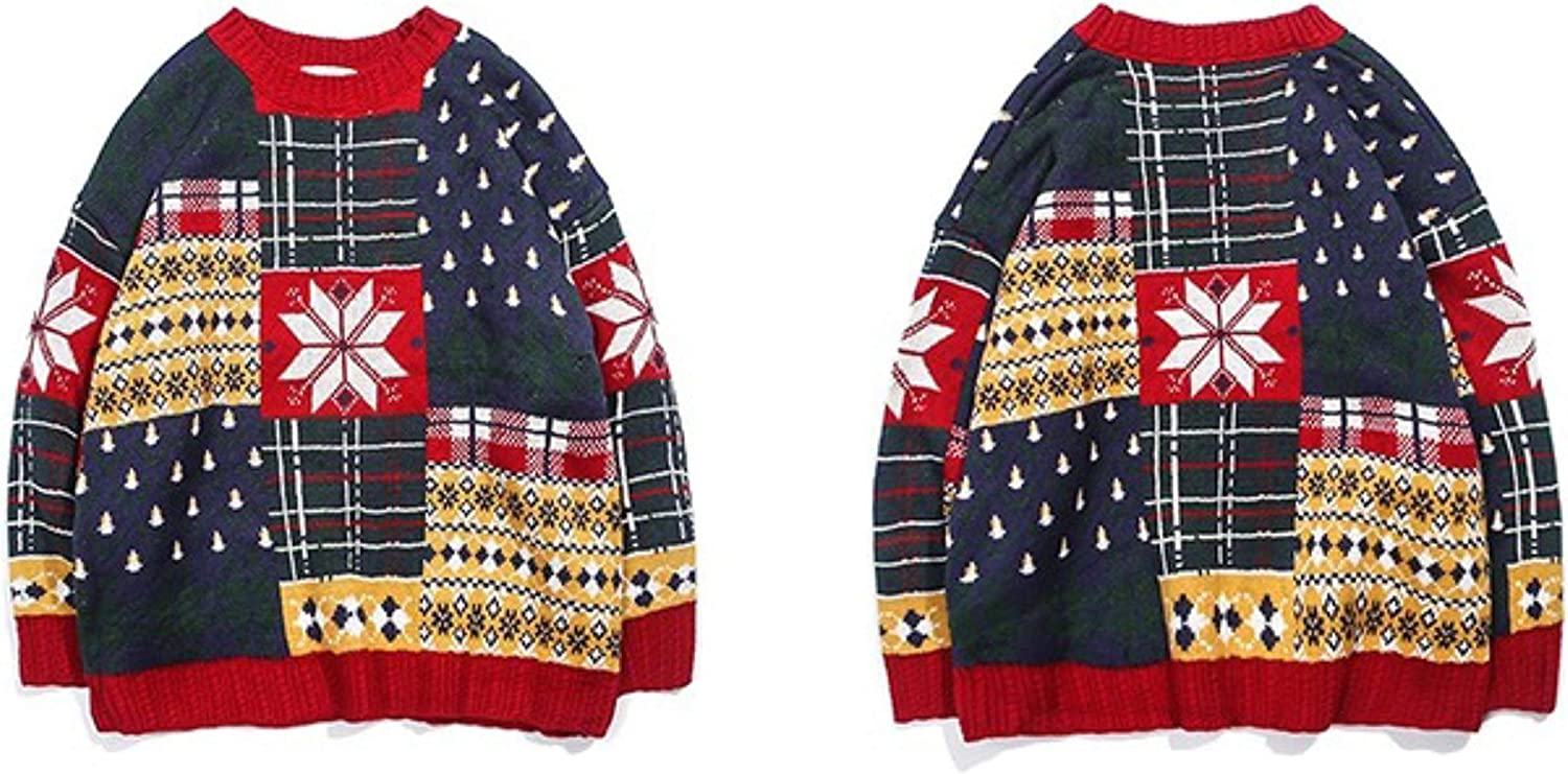 Winter Ugly Christmas Knitted Sweater Men Hip Hop Retro Loose Knit Pullover Color Block Harajuku Cotton Sweaters Unisex Red