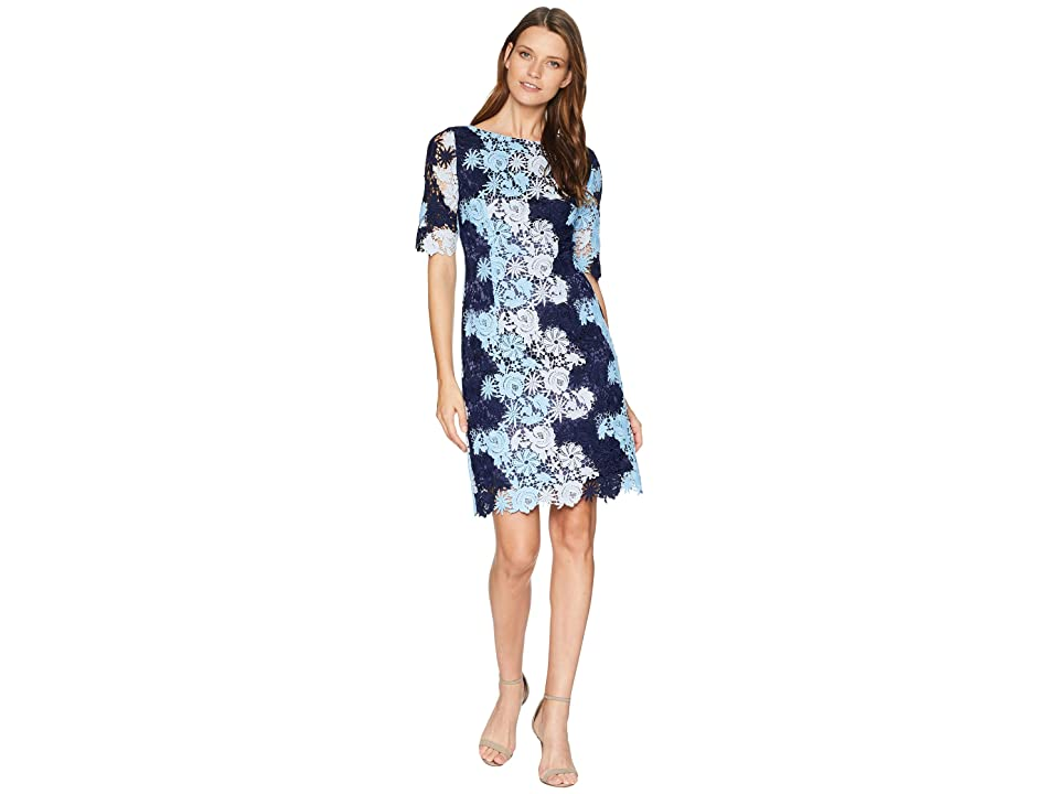 Tahari by ASL Short Sleeve Chemical Lace Dress (Navy/Sky/Pale Blue) Women