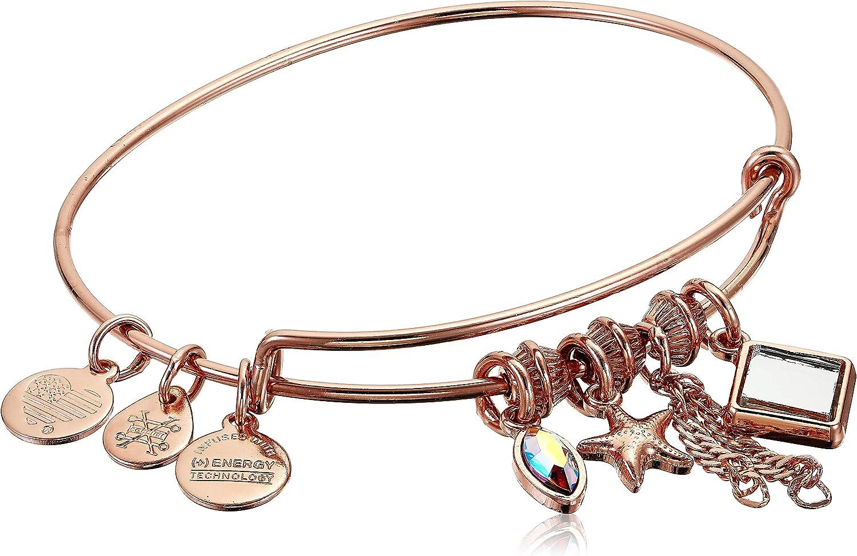 Alex and Ani Women's Starfish Cluster Charm Bangle Bracelet, Shiny Rose Gold