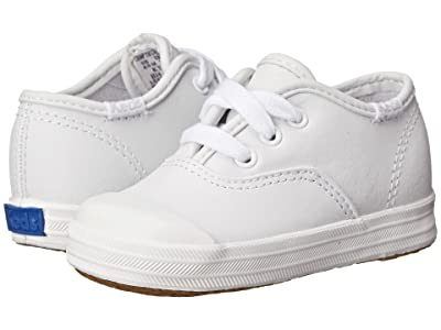Keds Kids Champion Lace Toe Cap 2 (Toddler) (White Leather) Girls Shoes
