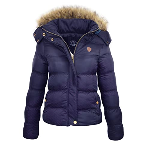 bcfa95ca181 M1427 New Womens Ladies Quilted Winter Coat Puffer Fur Collar Hooded Jacket  Parka Size HOPPJKT 2017