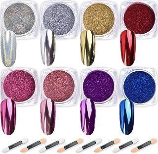 Nail Powder Wenida 8 Colors 1g/Jar Premium Mirror Laser Synthetic Resin Powder Manicure Art Decoration With 8pcs Eyeshadow Sticks
