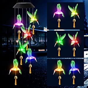 HiSolar Green Hummingbird Solar Wind Chimes Bell Color Changing Solar Powered LED String Lights Outdoor Mobile Gifts for Mom Hummingbird Gift Outdoor Garden Decor