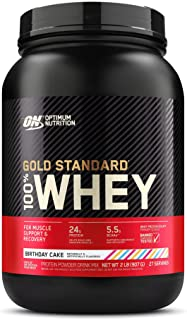 Optimum Nutrition Gold Standard 100% Whey Protein Powder, Birthday Cake, 2 Pound (Packaging May Vary)