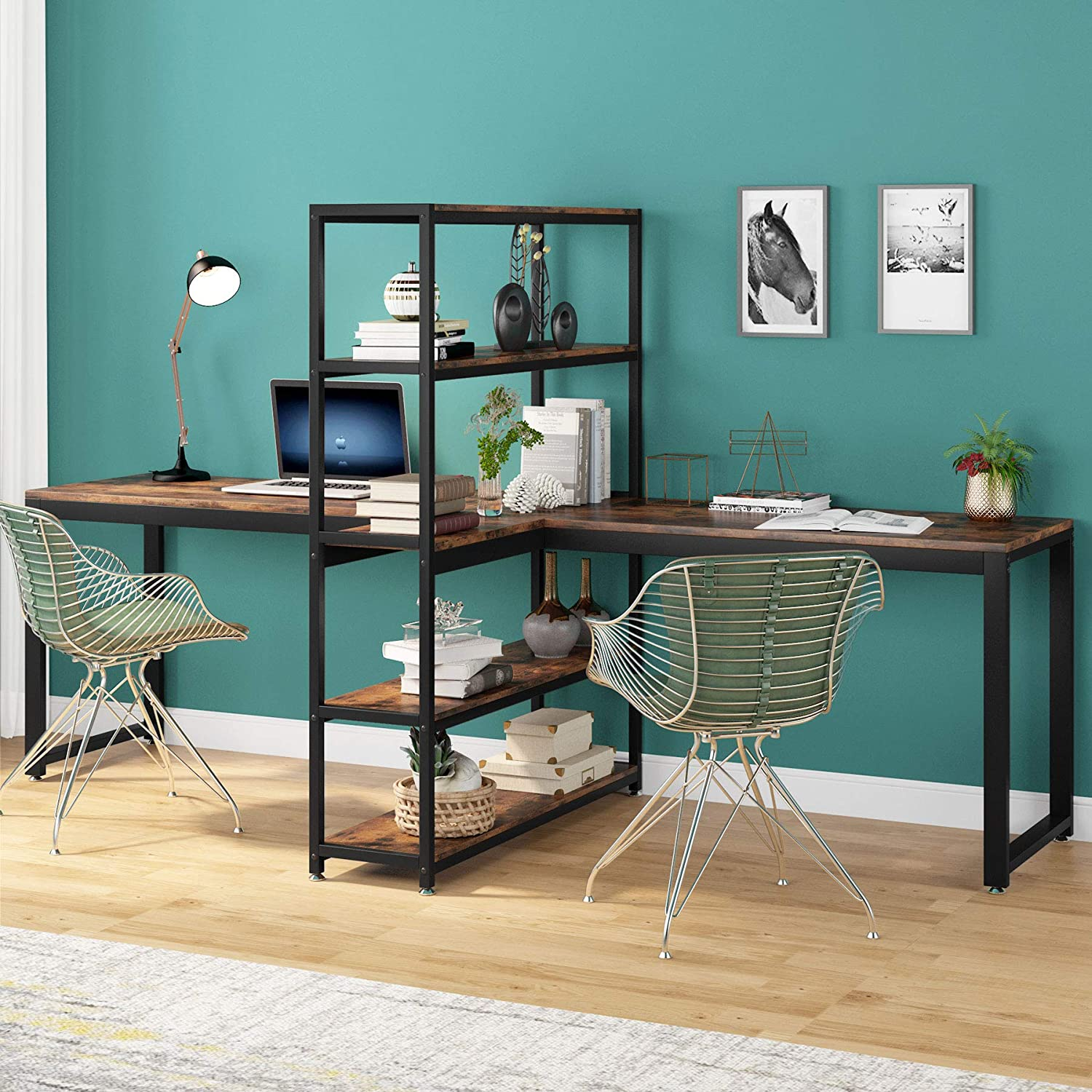 Tribesigns Complete Free Shipping Two Person Computer Desk 90 Do SALENEW very popular Bookshelf Inches with