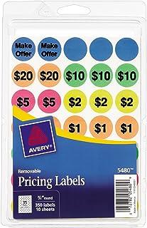 Avery preprint ملصقات بيع المرآب القابلة للإزالة ، 0.75 بوصة ، مستديرة ، حزمة من 350 (5480)