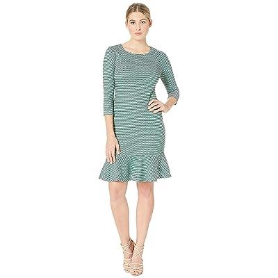 eci Long Sleeve Textured Knit Dress with Flounce Hem (White/Green) Women