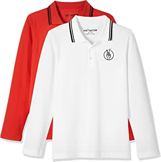Kid Nation Kids 2 Packs 3 Button Solid Long-Sleeve Polo Shirt for Boys and Girls