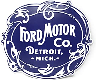 Vintage Ford Motor Co. Logo Shaped & Embossed Metal Wall Decor Sign, Heavy Gauge .35mm Iron, Sawtooth Hanger On Back For Displaying, 17