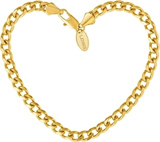 LIFETIME JEWELRY 5mm Cuban Link Chain Bracelet for Men & Women 24k Gold Plated with Free Lifetime Replacement Guarantee