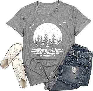 قمصان التخييم للمشي لمسافات طويلة للنساء رسومات الأشجار الضيقة مطبوعة تي شيرت بحيرة الحياة قصيرة الأكمام بلايز بلوزة