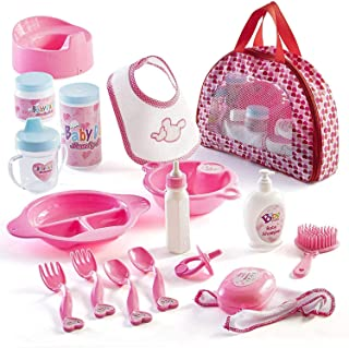 18 Piece My First Baby Doll Accessories in Zippered Carrying Case - Doll Feeding Toys, Fashion and Bath Accessory Set for ...