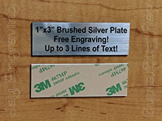 Custom Engraved 1x3 Brushed Silver Plate | Name Tag Sign | Badge With Adhesive | Engraving Trophy Plaque Urn Keepsake Loving Personalized Scrapbook Organize Small Business Home Office Wall Door Plaque