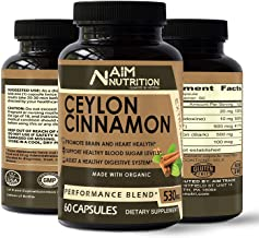 Organic Ceylon Cinnamon Supplementary Capsules – 100% Pure Cinnamon Bark Extract Supplement Promote Heart Health & Reduce Inflammation – 60 Capsules