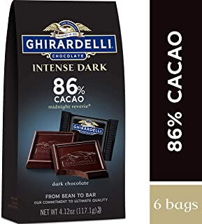 Ghirardelli Intense Dark Chocolate Squares - 86% Cacao – Dark Chocolate With Hints Of Cherries & Plums – 4.12 Oz. (117.1g), 6 Bags