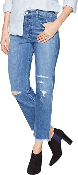 Wynne High-Rise Crop Straight Jeans in Nave Destruct