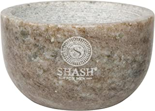 SHASH Marble Shaving Bowl, Beige - Lather Mug with Interior Grooves Builds a Rich, Foamy Froth - Retains Heat for a Close, Comfortable Shave - Compact, Sophisticated Design - Premium Quality