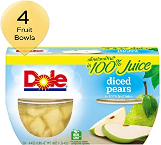 DOLE FRUIT BOWLS, Diced Pears in 100% Fruit Juice, 4 Ounce (4 Cups)