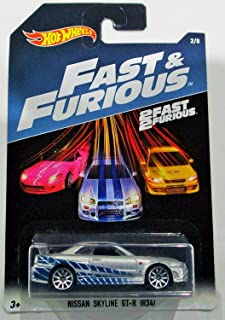 Hot Wheels 2017 Fast and Furious Nissan skyline GT-R R34 silver/blue 2 fast 2 furious 2/8